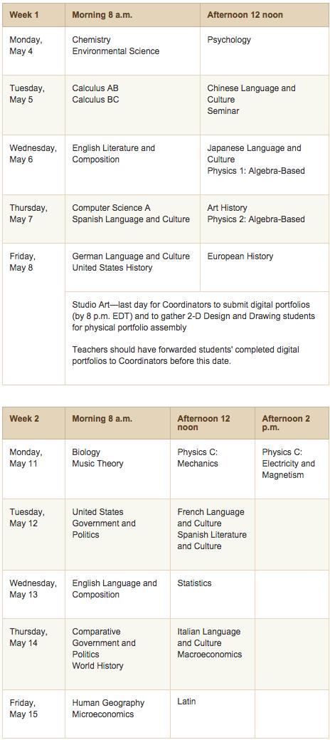 Ap exam dates in Brisbane